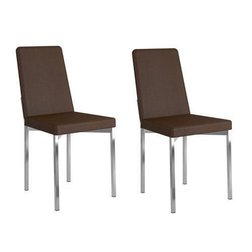 Kit 2 Cadeiras 399 Cacau/Cromado - Carraro Móveis