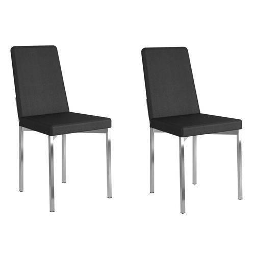 Kit 2 Cadeiras 399 Courissímo Preto/Cromado - Carraro Móveis