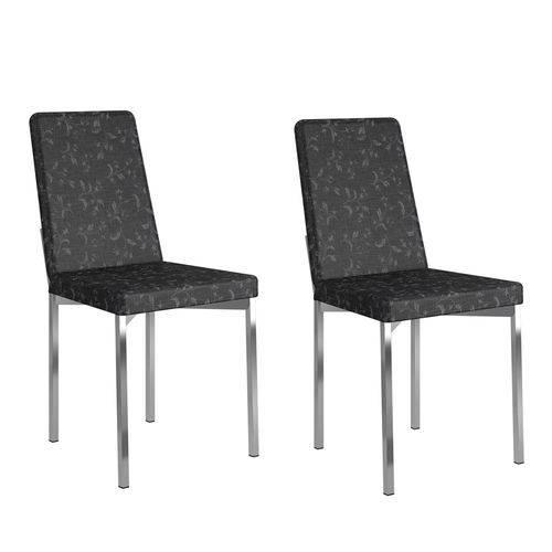 Kit 2 Cadeiras 399 Fantasia Preto/Cromado - Carraro Móveis