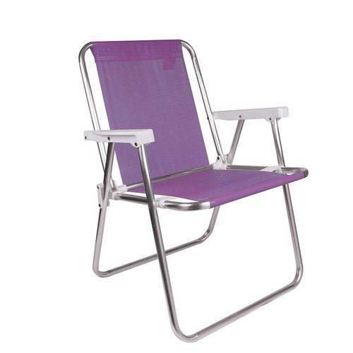 Kit 2 Cadeiras Altas de Alumínio Sannet Lilás + 1 Guarda-sol Fashion 1,80m