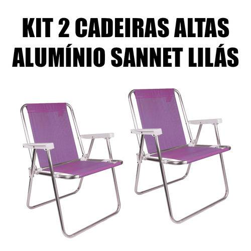 Kit 2 Cadeiras Altas de Alumínio Sannet Lilás