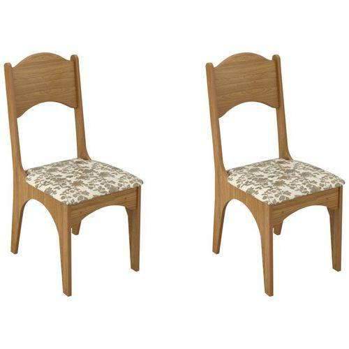 Kit 2 Cadeiras Ca18 para Sala de Jantar Freijó/floral - Dalla Costa