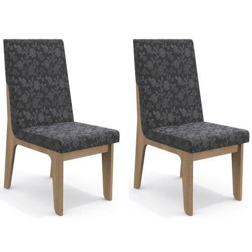 Kit 2 Cadeiras Cad102 para Sala de Jantar Nogal/gold Floral - Kappesberg
