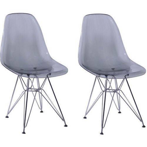 Kit 2 Cadeiras Eames Eiffel Fume PC OR Design 1101