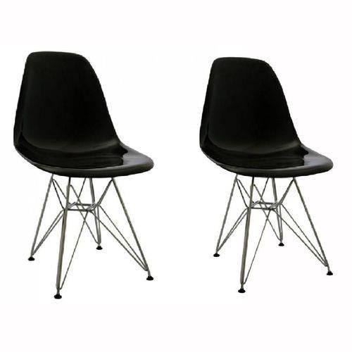 Kit 2 Cadeiras Eames Eiffel Preta PC OR Design 1101