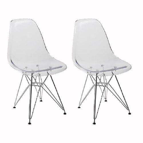 Kit 2 Cadeiras Eames Eiffel Transparente PC OR Design 1101