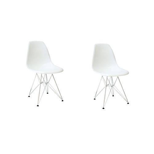 Kit 2 Cadeiras Eiffel Base Cromada Sem Braço
