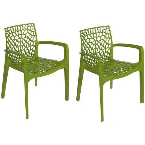 Kit 2 Cadeiras Gruvyer com Braços Verde OR Design