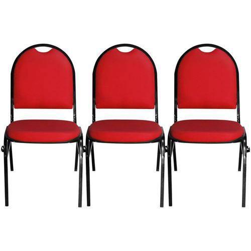 Kit 3 Cadeiras Hoteleira Auditório Hotel Empilhável Fixa Vermelha - Pethiflex