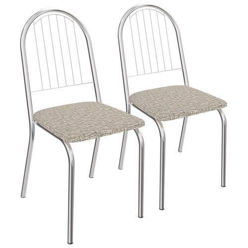 Kit 2 Cadeiras Noruega Cromada Kappesberg 2C077 Linho Marrom