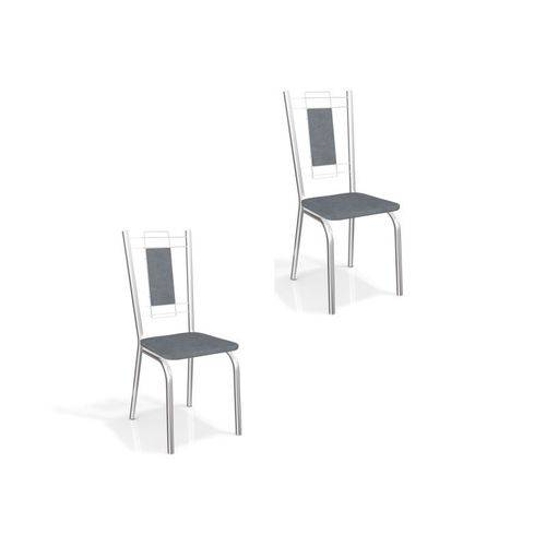 Kit 2 Cadeiras para Cozinha Florença Cromado/preto Linho Cinza - Kappesberg