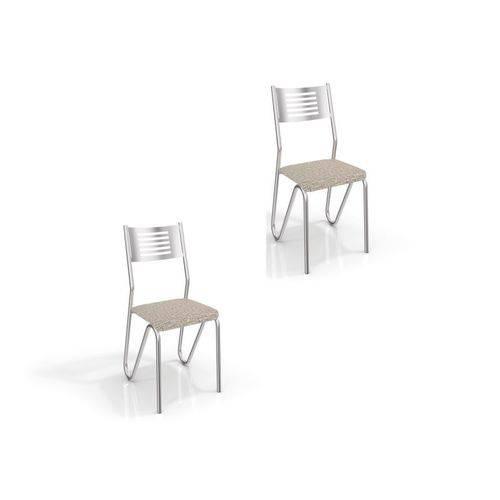 Kit 2 Cadeiras para Cozinha Nápoles Cromado/linho Marrom - Kappesberg