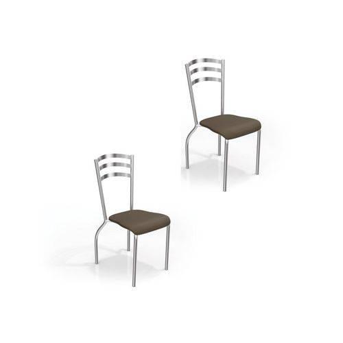 Kit 2 Cadeiras para Cozinha Portugal Cromado/marrom - Kappesberg