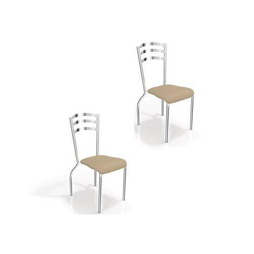Kit 2 Cadeiras para Cozinha Portugal Cromado/nude - Kappesberg
