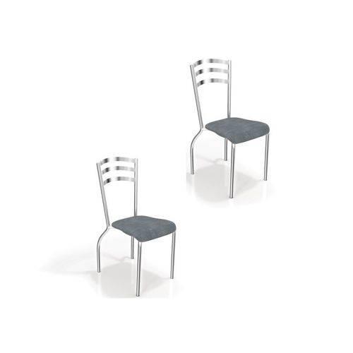 Kit 2 Cadeiras para Cozinha Portugal Cromado/preto Linho Cinza - Kappesberg