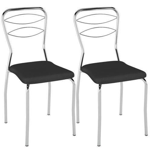 Kit 2 Cadeiras para Cozinha Tubular Pc11- Preto/cromado