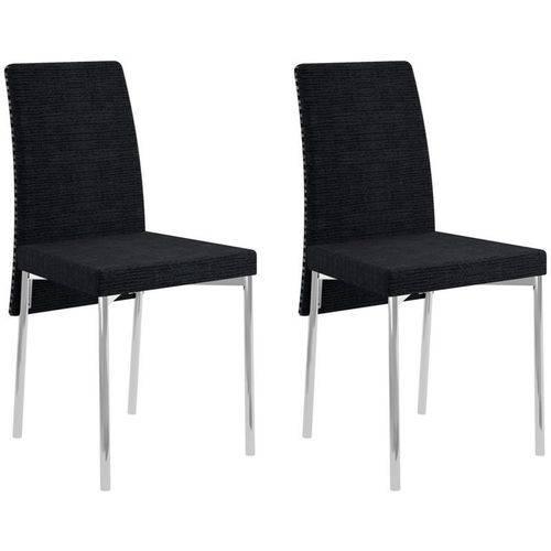 Kit 2 Cadeiras para Sala de Jantar 306 Cromado/black Listrado - Carraro