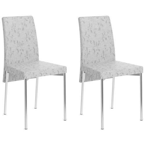 Kit 2 Cadeiras para Sala de Jantar 306 Cromado/fantasia Branco - Carraro