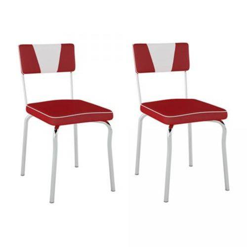 Kit 2 Cadeiras Retrô PC1300228 Assento Vinil Vermelho Encosto Branco - Pozza