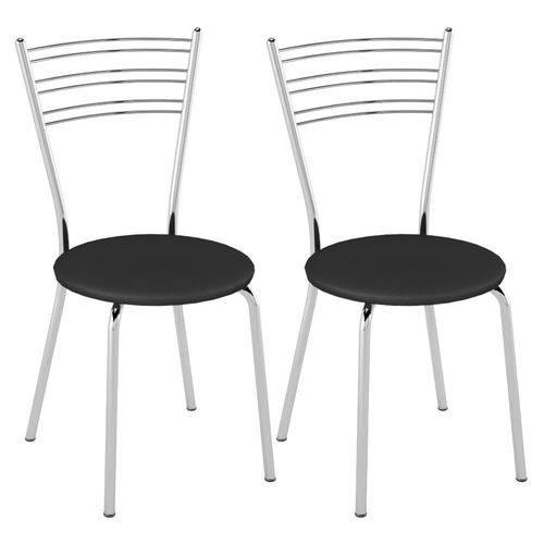 Kit 2 Cadeiras Tubular com Assento Redondo - Preto/cromado