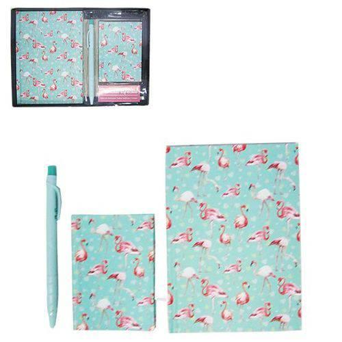 Kit Caderneta / Bloco de Notas C/ Índice Telefônico 50 Folhas + Caneta - Flamingo