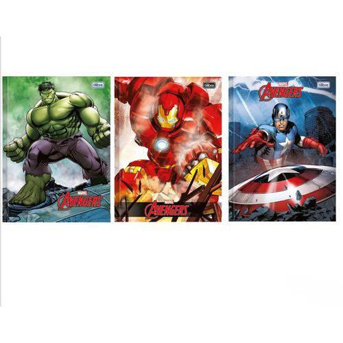 Kit 3 Cadernos Brochurão Avengers 96 Folhas - Tilibra