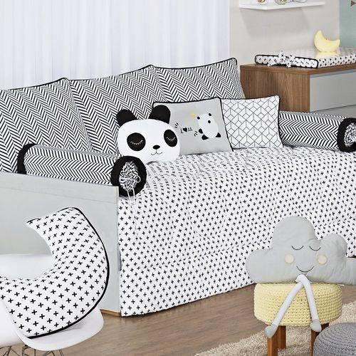 Kit Cama Babá Panda Preto 100% Algodão 9 Peças