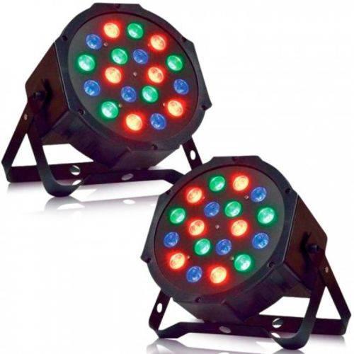 Kit 2 Canhão LED PAR Refletor Slim RGB 18 LEDS 1W COM VENTILADOR Display Digital DMX