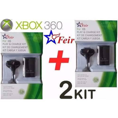 Kit 2 Carregadores Controle Xbox 360 Bateria 20.000 com Cabo