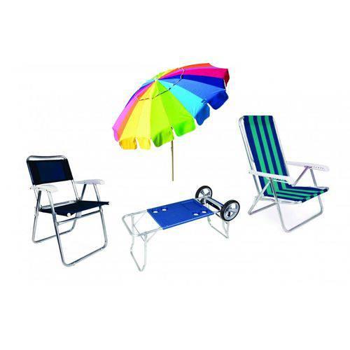 Kit Carrinho Praia Desmontavel + 1 Rainbow + 2 Cadeiras de Praia Mor