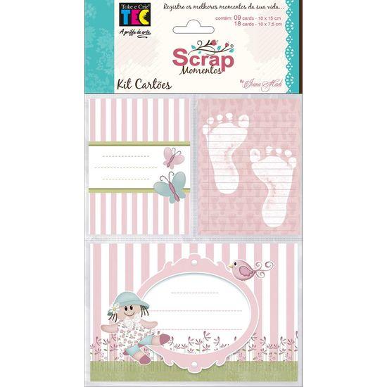 Kit Cartões para Scrap Momentos Bebê Menina KCSM002 - Toke e Crie By Ivana Madi