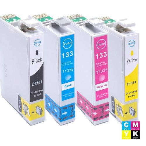 Kit Cartucho Epson To1351 Preto, To1332 Ciano, To1333 Magenta e To1334 Amarelo Tx125 Compatível