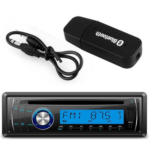 Kit Cd Player Automotivo Lenoxx Ar613 1 Din USB Mp3 Sd Aux Rca + Adaptador Bluetooth Música Receptor