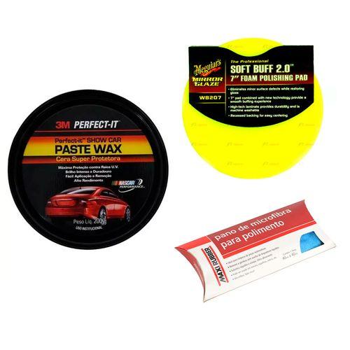Kit Cera Super Protetora Paste Wax 3M + Aplicador + Pano Microfibra