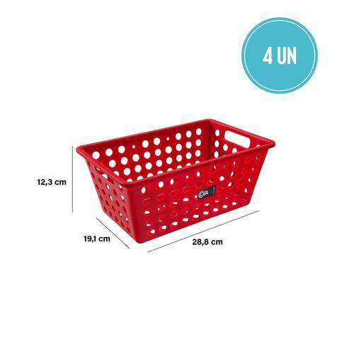 Kit Cesta Grande 28,8 X 19,1 X 12,3 Cm 4 Peças Vermelha - Coza