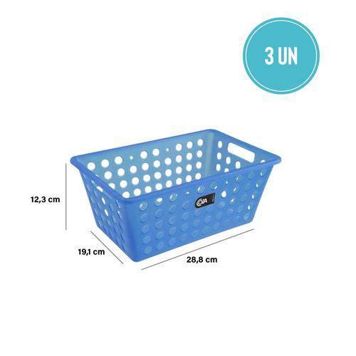 Kit Cesta Grande 28,8 X 19,1 X 12,3 Cm 3 Peças Azul - Coza