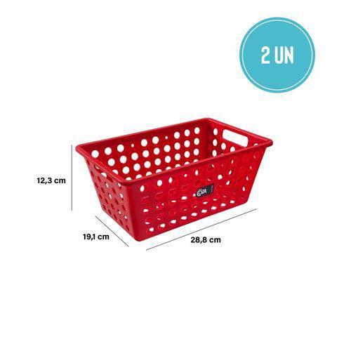 Kit Cesta Grande 28,8 X 19,1 X 12,3 Cm 2 Peças Vermelha - Coza