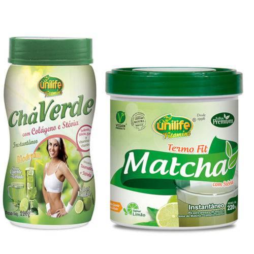Kit Chá Verde com Colágeno e Stévia e Matcha Termo Fit