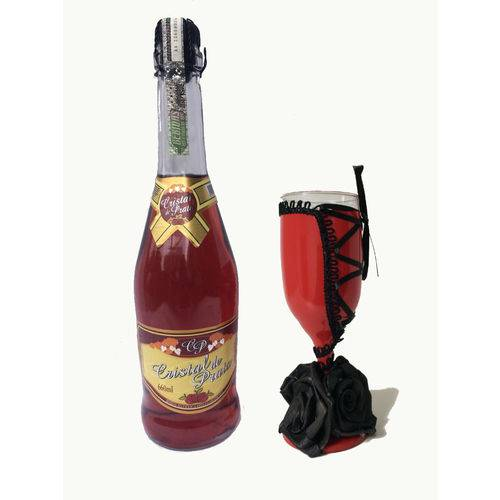 Kit Champanhe Rose Cristal de Prata e Taça Flor