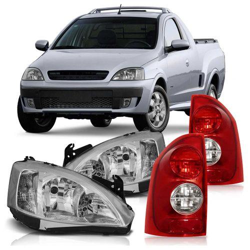 Kit Chevrolet Montana 2003 2004 2005 2006 2007 2008 2009 2010 Par de Farol Máscara Cromada Pisca Liso + Par Lanterna Traseira Bicolor