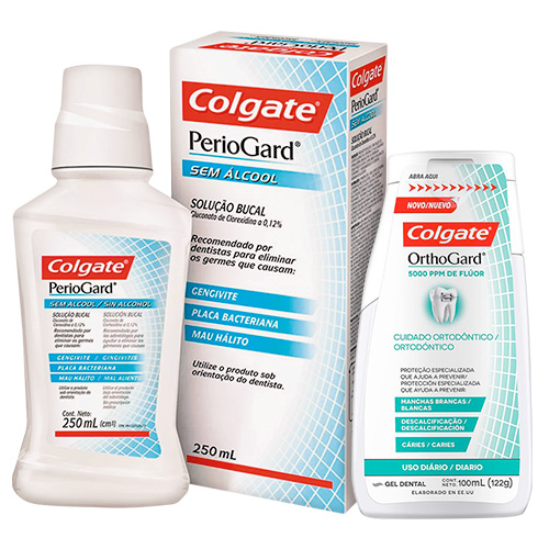 Kit Colgate Antisséptico Bucal Periogard Sem Álcool 250ml + Gel Dental OrthoGard 100ml