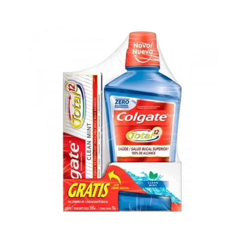 Kit Colgate Enxaguante Bucal Cool Mint + Creme Dental Total 12