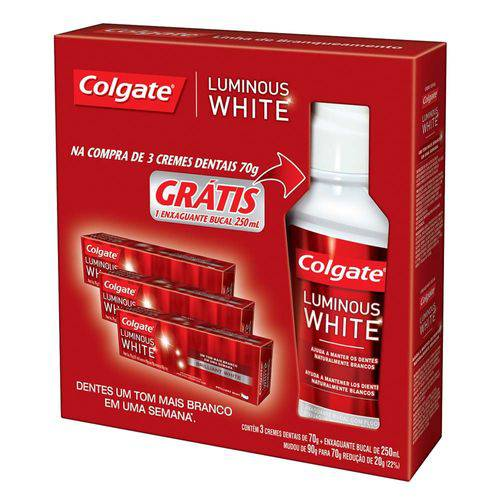 Kit Colgate Luminous White Creme Dental 70g 3 Unidades + Enxaguante Bucal 250ml