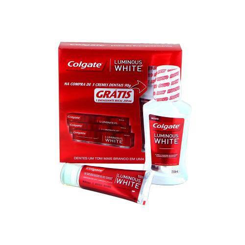 Kit Colgate Luminous White Creme Dental 90g C/3 Unidades + Enxaguante Bucal 250ml
