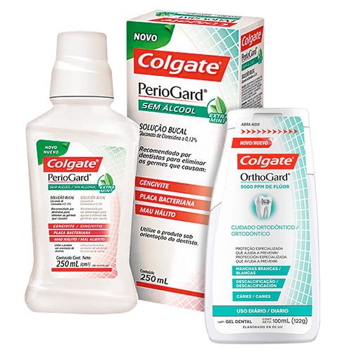 Kit Colgate PerioGard Enxaguante Bucal Extra Mint 250ml + Creme Dental Gengiva Saudável 90g