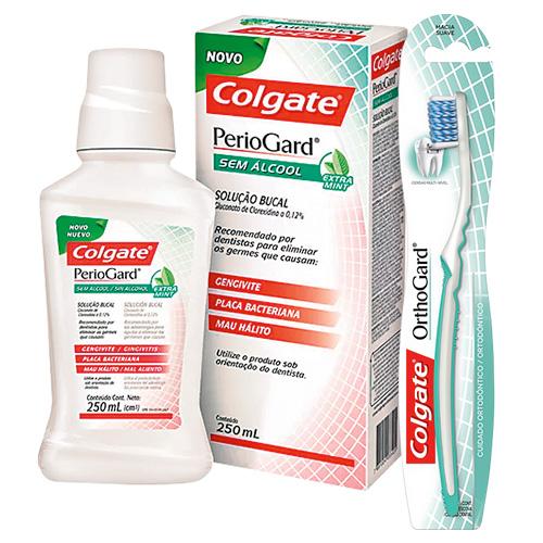 Kit Colgate PerioGard Enxaguante Bucal Extra Mint 250ml + Escova Dental OrthoGard 1 Unidade