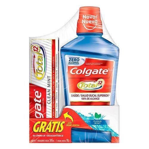Kit Colgate Total 12 Clean Mint Enxaguante Bucal 500ml+ Creme Dental 90g