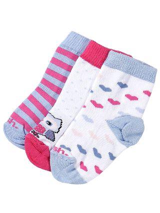 Kit com 03 Meias Infantil para Bebê - Azul/branco