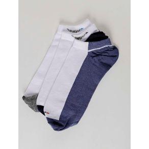 Kit com 03 Meias Masculinas Vels Azul/branco
