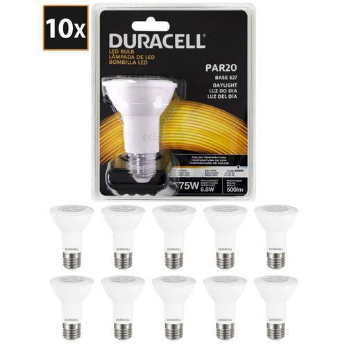 Kit com 10 Lâmpadas de Led Duracell Par20 Branca 6,8w
